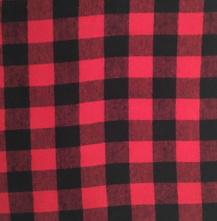 """Red and Black Buffalo Check Plaid 100% Cotton Flannel Fabric - 1 1/4"""" check"""