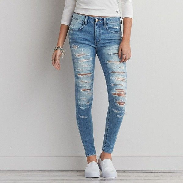 AEO Denim X Hi-Rise Jegging (Jeans) (27 AUD) ❤ liked on Polyvore featuring jeans, pants, bottoms, torn dreams, frayed jeans, ripped denim jeans, destroyed denim jeans, stretch jeggings and faded jeans