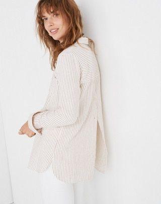 169d204e8b5 Flannel Classic Ex-Boyfriend Button-Back Shirt in Stripe in margo stripe  pearl ivory image 2