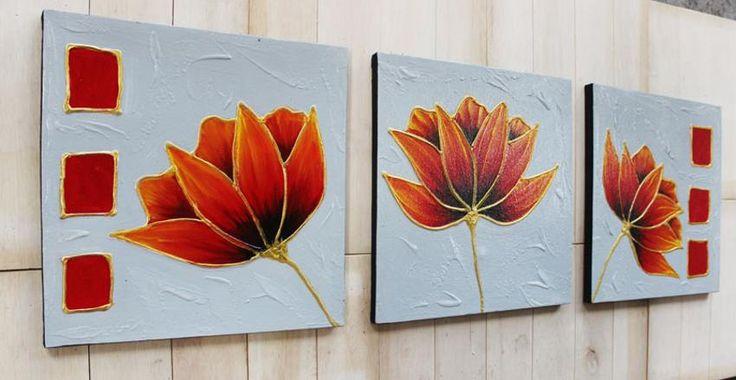 Lukisan BUnga Dekoratif 3 Kanvas