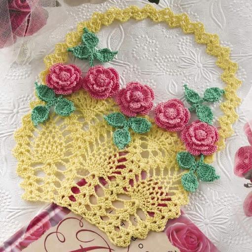 Spring flower basket crocheted mat