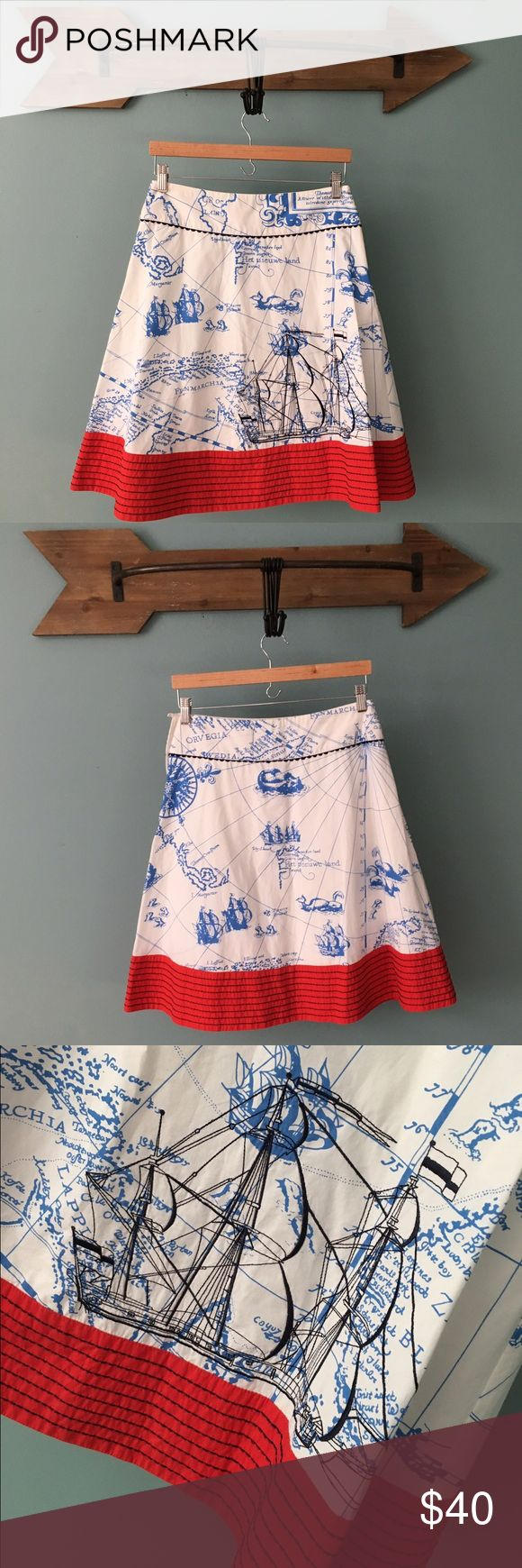 """RARE Anthropologie Lithe Seafarer's Map Skirt RARE Anthro Lithe Seafarer's Map Skirt.   From the Anthro Archive Website:  An embroidered schooner sails through periwinkle oceans on crisp cotton poplin, buoyed by a vivid red border. By Lithe. Side zip Cotton; cotton lining Machine wash 23""""L  🚭Nonsmoking Home. ✅Pet friendly, we have a Morkie. 🚫Sorry No Trading. Anthropologie Skirts Midi"""