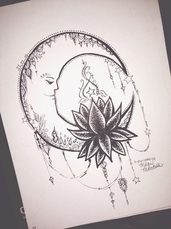 Moon tattoo ideas and my favorite lotus flower without the face I don't like faces on moons