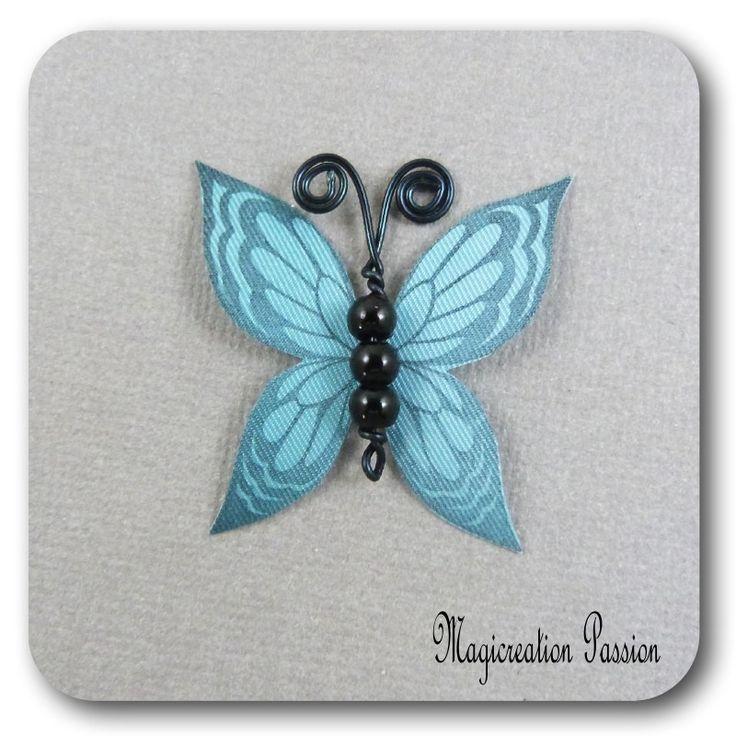 papillon 3.5 cm soie turquoise corps de perles noires et métal noir-Ysatis : Décoration d'intérieur par les-tiroirs-de-magicreation-passion