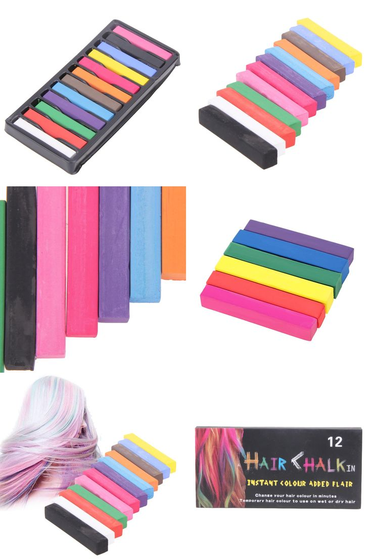 [Visit to Buy] 6 Colors/12 Colors Temporary Hair Dye Kit Portable Hair Color Chalk Stick Alcohol-Free Styling Chalks Hair Pastel Tools #Advertisement