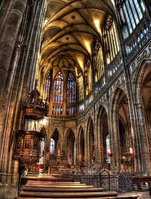 This is the St. Vitus Cathedral of Prague, Czech Republic.  It is the largest and most important church in the country.  It is an example of Gothic architecture.