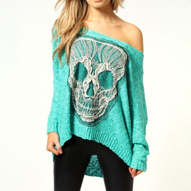 Skull Print Women Fashion Warm Charming Girls Long Sleeve Knit Off Shoulder Backeless Irregular Sexy Casual Top Outwear Sweater