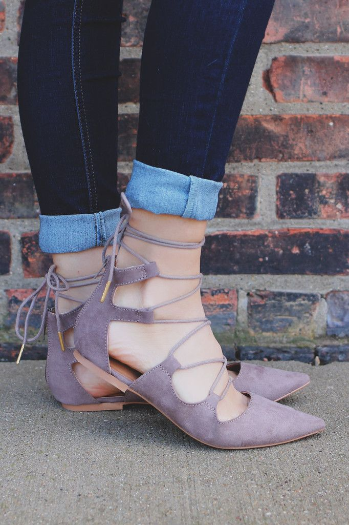 We cannot stop raving about thes shoes! A pair of pointed toe, faux suede ballet flats with a lace up ankle, lightly cushioned insole and zipper back look great with all of your favorite t-shirt dress