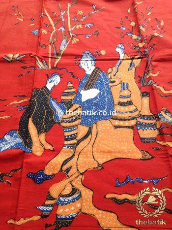 Bahan Kain Batik Tulis Kumpeni Puteri Cina Oriental Merah | #Indonesia Traditional #Batik Tulis #Design. Hand-dyed and HandDrawn Process http://thebatik.co.id/kain-batik-bahan/batik-tulis/