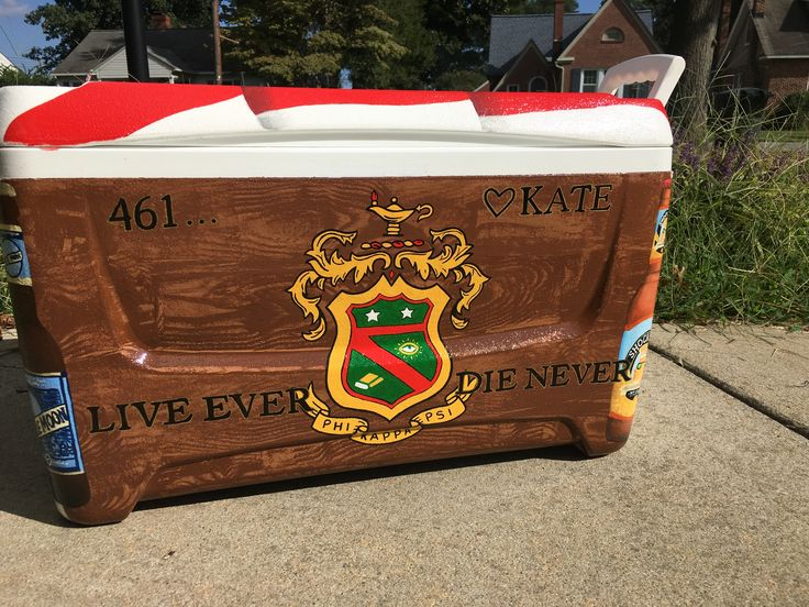 Phi kappa psi crest on wood grain painted fraternity Cooler