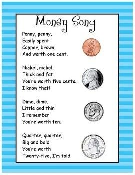 Money song- I'll need this in the spring. Common core doesn't include money or time in the first grade standards. coin