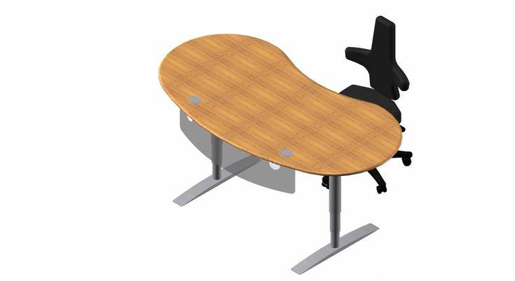 Steh-Sitz Schreibtisch: Joker Rund in Bambus Massivholz Original Ergonomie und Feng Shui optimierter Vital-Office Schreibtisch mit anthropometrisch runder Vital-Office Schreibtischplatte facettiert und natürlich gewachster MDF Naturkante. Ein wertiger Schreibtisch zum Wohlfühlen. Extrem platzsparend durch die flächeneffiziente Vital-Office Rundform. Passt harmonisch in Räume, wo ein gerader Schreibtisch in gleicher Größe nicht mehr passen würde. Beliebige Drehwinkel ermöglichen optimale Feng…