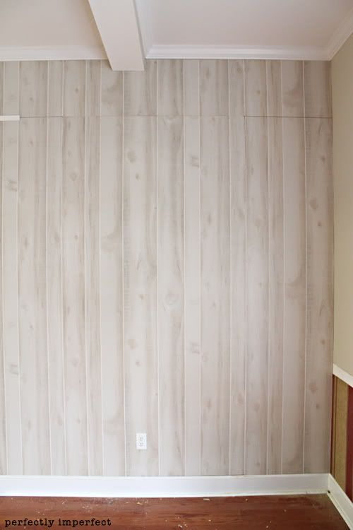 how to install faux wood paneling | Log walls redo ...