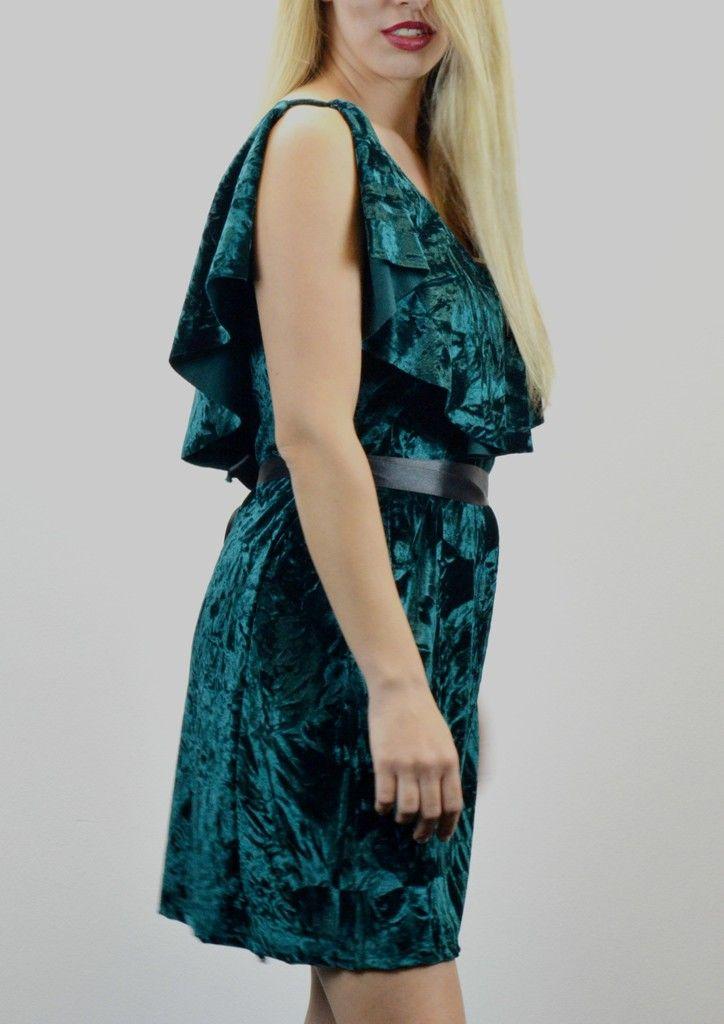 Φόρεμα Βελούδο με Βολάν και Ζώνη - ΚΥΠΑΡΙΣΣΙ | shop online: www.musitsa.com