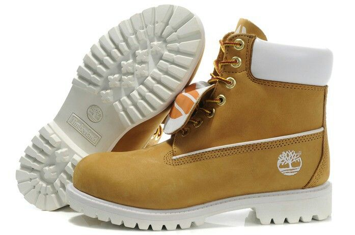 Wheat and white timberland boots