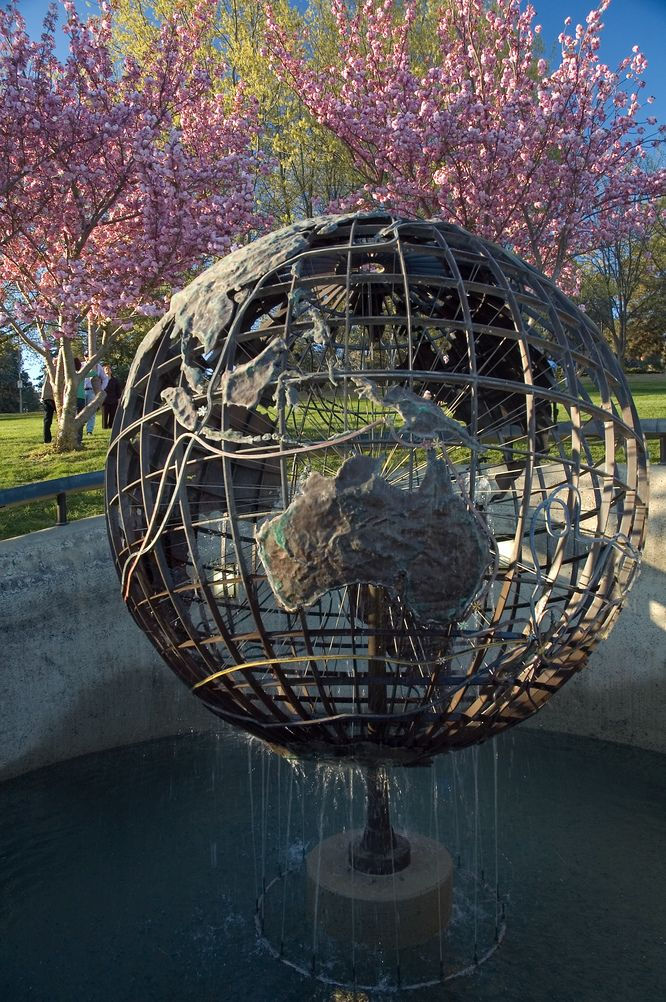 Captain Cook Memorial Globe located on the shores of Lake Burley Griffin in Canberra, Australia http://www.spinecentre.com.au/