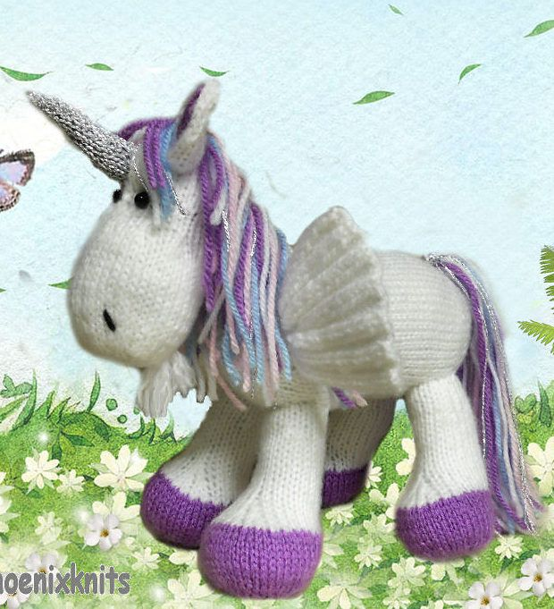 Knitting Pattern for Winged Unicorn Toy - A Pegacorn is an enchanting mixture of a Unicorn and a Pegasus standing 8 inches high and 7 inches long. The pattern is very easy to follow, there are NO complicated stitches or shaping and contains many helpful photos.