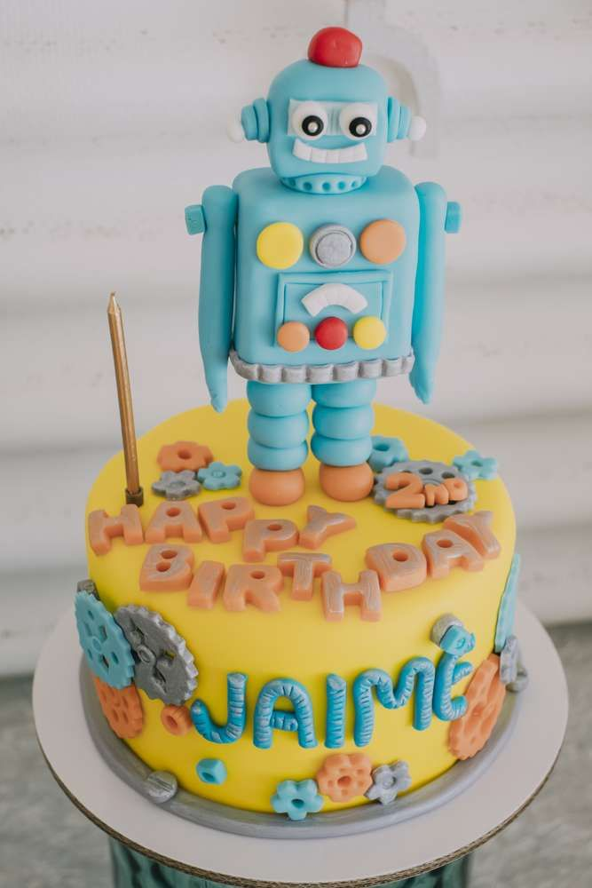 Fun cake at a robot birthday party! See more party ideas at CatchMyParty.com!