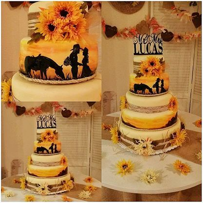 Desiree and Patrick Lucas wedding cake.  Patrick's sister made it.  =)  Sunflowers, horses, yellow and brown, burlap, silhouette.