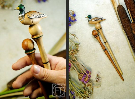 Wood Hair Stick - Hairstick Duck Bird Sculpture Hairpin Nightingale Wood Sculpture  Barrette   Hair Accessories hair fork