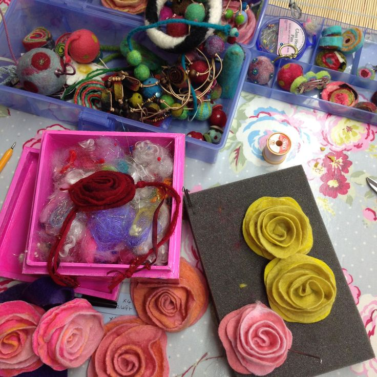 I've made a lot of felt roses in my time! The process is outlined in all of my books on Felting