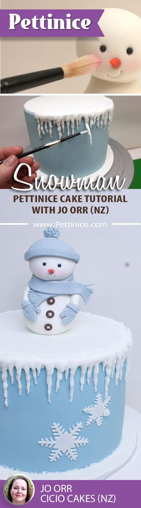 How to make this cute little snowman with icicle cake tutorial from www.pettinice.com/tutorials