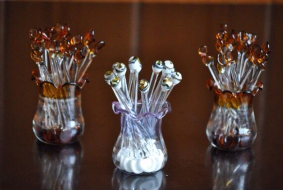 Cam üfleme sanatı ile Çay kaşıkları