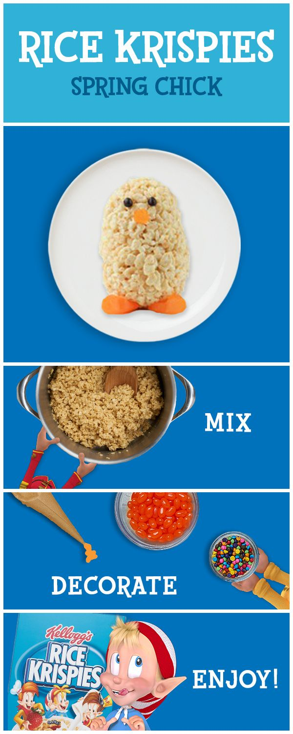 Make some Easter deliciousness this spring with Rice Krispies. It only takes basic ingredients to make tasty snacks in three easy steps. Decorate the treats your own way for more family fun. The inspiration here is just the beginning. The possibilities are endless!