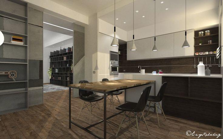 Cucina e soggiorno stile industrial contemporaneo - easyrelooking