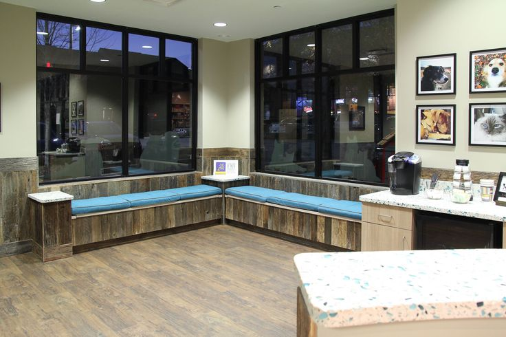 Veterinary Waiting Area with reclaimed wood benches by #BlueFrog Design-Build Firm