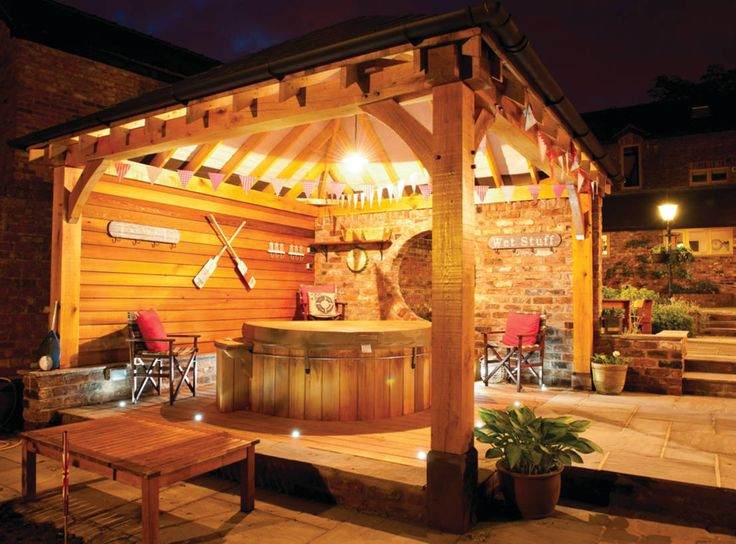 Gazebo's and Pavilions : Mediterranean style spa by Cedar Hot Tubs UK