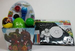 Marvel Avenger Assemble Easter Gift Box This gift box comes with a projector light, 1 large plastic egg with candy and stickers, 4 small plastic eggs with candy and an Avenger Velvet Poster Art Kit.  http://awsomegadgetsandtoysforgirlsandboys.com/creative-easter-basket-ideas/ Creative Easter Basket Ideas: Marvel Avenger Assemble Easter Gift Box