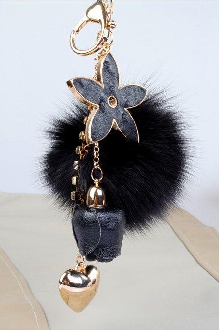 Fox fur ball pom pom bag charm tassel keychain in by YogaStudio55