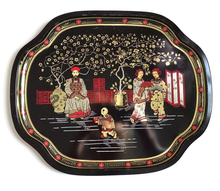 Vintage Tin Tray Decorative Metal Tray Made in England Asian Chinese Design Tin Chinioiserie Serving Tray Asian Decor Vanity Tray by MerrilyVerilyVintage on Etsy https://www.etsy.com/listing/523185502/vintage-tin-tray-decorative-metal-tray