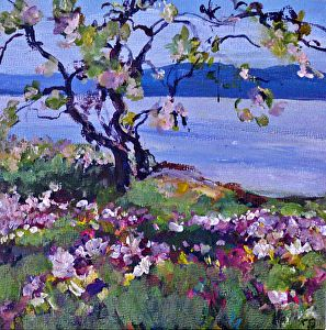 """2012, Spring flowers Hornby by Coral May Barclay Acrylic ~ 6"""" x 6"""""""