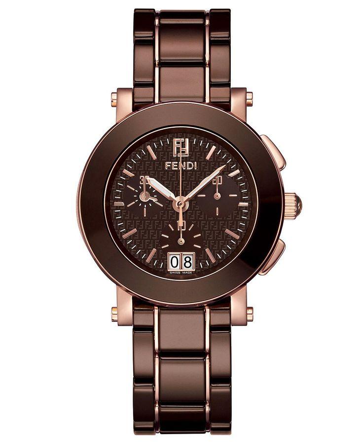 Fendi Watch, Women's Swiss Chronograph Brown Ceramic Bracelet 38mm
