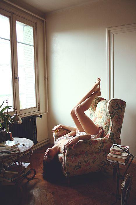vintage pattern arm chair, natural lighting, lounging around.