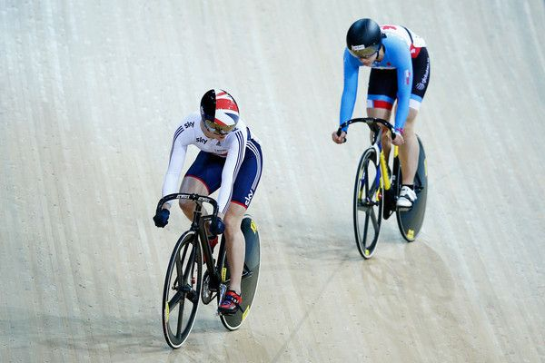 Victoria Williamson Photos - Victoria Williamson (L) of the Great Britain Cycling Team and Monique Sullivan of Canada compete in the Womens Sprint 1/16 Final race during day 3 of the UCI Track Cycling World Championships held at National Velodrome on February 20, 2015 in Paris, France. - UCI Track Cycling World Championships: Day 3