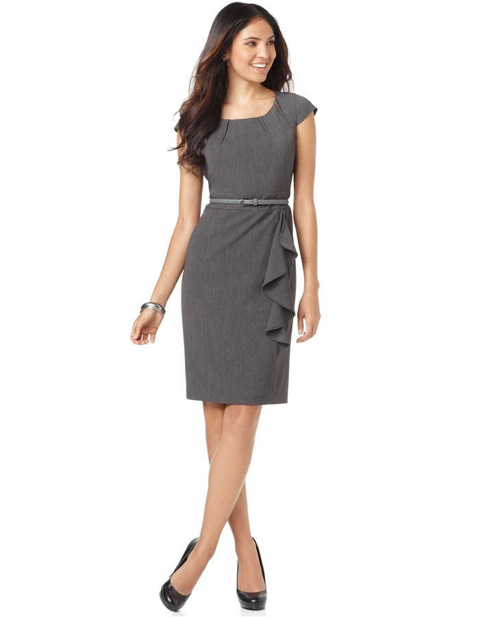 Cap sleeve sheath with ruffles- LOVE sheath dresses!