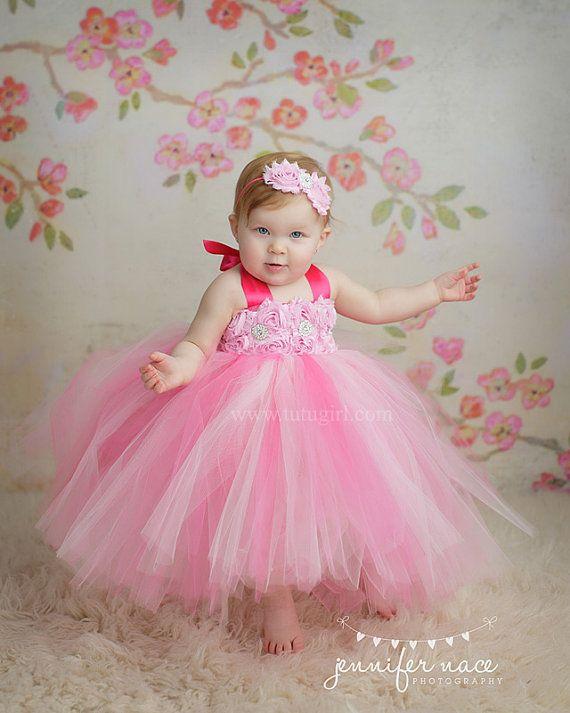 Pink Tutu Dress Flower Girl Toddler Baby Custom Length by TutuGirl, $89.99