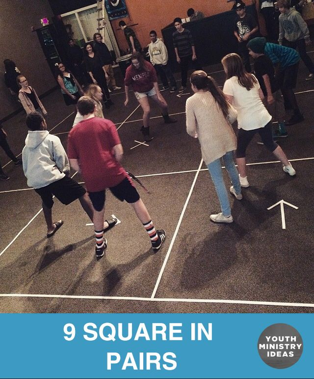 9 square in pairs. Like 4 square, but bigger and with a partner. Youth Ministry Ideas and Games.