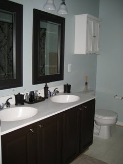 Painting bathroom cabinet.