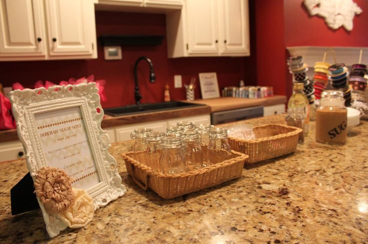 Homemade Sugar Scrub station at my Girls Craft Night party!  How to make sugar scrub.