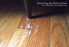 Removing scratches from a wood floor Works like a charm!!