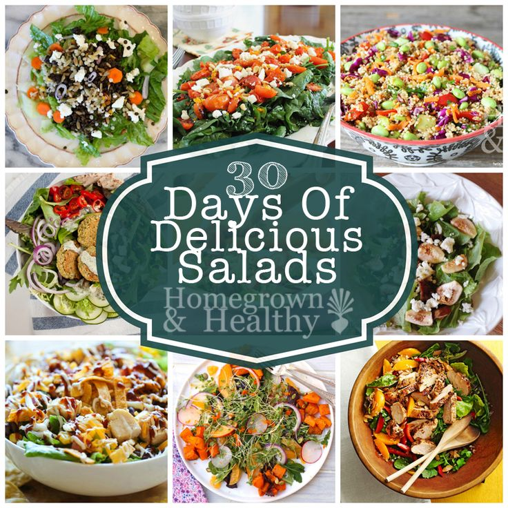 30 mouth watering salad ideas! (See the full Pinterest board here: http://www.pinterest.com/grownandhealthy/30-days-of-salads/)
