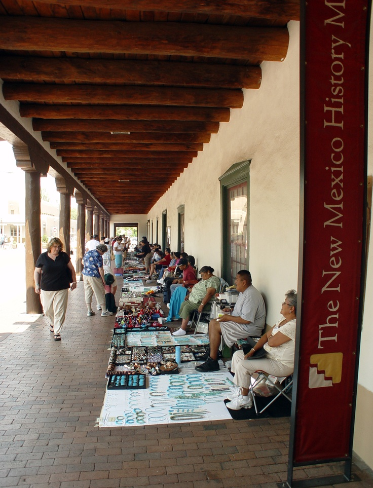 Santa Fe Plaza, New Mexico- the BEST place to get locally made, handmade silver or turquoise jewelry and other local crafts. Discover more at www.newmexico.org and www.discoveramerica.com