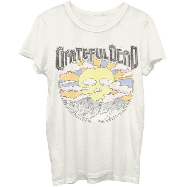 Junk Food Grateful Dead Tee ($37) ❤ liked on Polyvore featuring tops, t-shirts, ivory, fitted t shirts, fitted white t shirt, crewneck tee, white crew neck tee ve white short sleeve t shirt