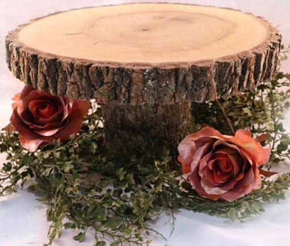 Rustic Cake Stand Wedding Cake Stand Wood Slab Stand Wood Tree
