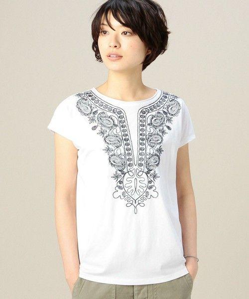 BEAUTY&YOUTH WOMENS(ビューティアンドユース ウィメンズ)のBYBC ボヘミアン刺繍ショートスリーブ(Tシャツ/カットソー)|ホワイト