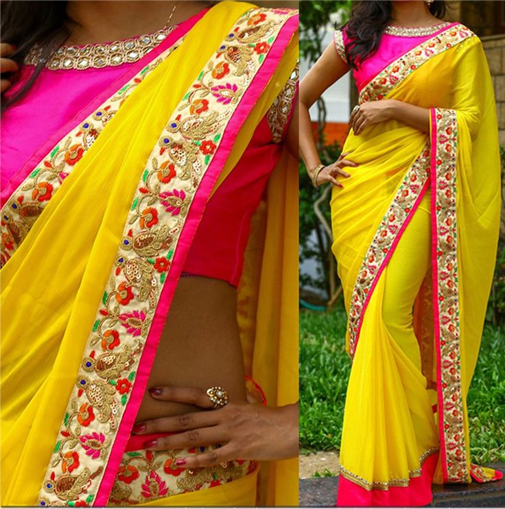 Georgette+Border+Work+Yellow+Plain+Saree+-+113 at Rs 1349
